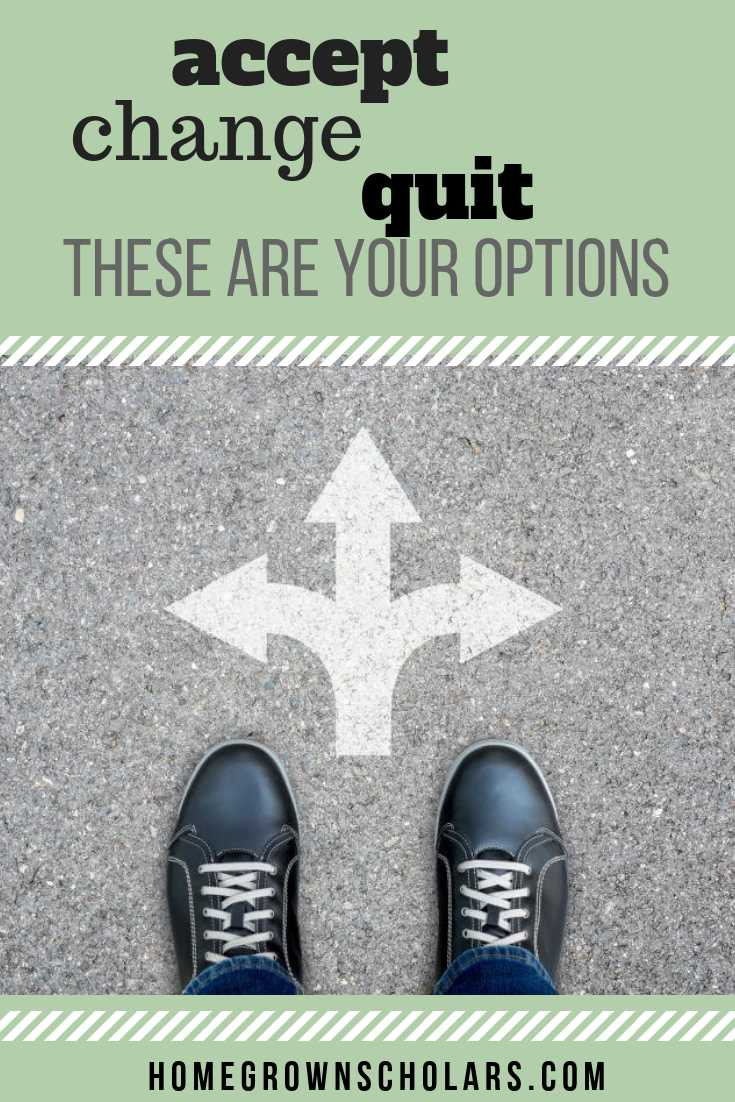 Accept Change Quit-These Are Your Options